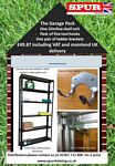 Greenhouse & Garden Shed Shelving scrolled exterior & wrought iron wall brackets - GarageShelvingPack.JPG