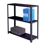 Zamba Medium Duty Dotted tm Angle post steel Shelving - MediumDutyBolted3ShelfBk.jpg