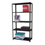 Zamba Medium Duty Dotted tm Angle post steel Shelving - MediumDutyBolted5TierBk.jpg