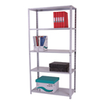 Zamba Medium Duty Dotted tm Angle post steel Shelving - MediumDutyBolted5TierGr.jpg